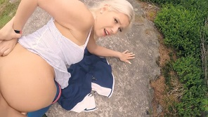 Pretty blonde with hot body is fucking in the public with her boyfriend